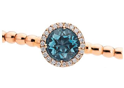 Brillantarmband 18kt Rosegold mit Brillanten und Blautopas