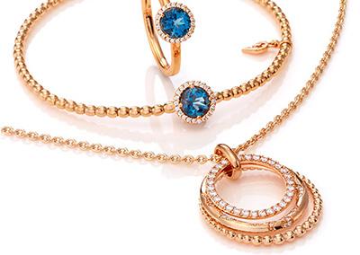 Ring, Kette und Armreifen in 18kt Rosegold